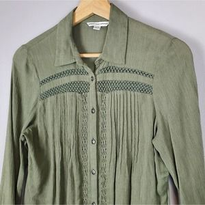 AEO Olive Green Boho Button Up Shirt XS
